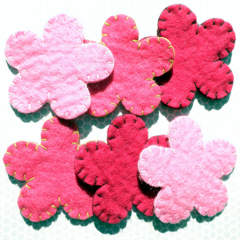 3x Multi Pack Wool Pink Felt Rounded Flowers