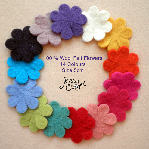 50x 5cm WHOLESALE Mix Pack Wool Felt Flowers