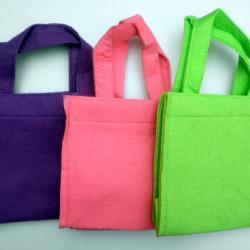 1x Lime Green Felt Handbag