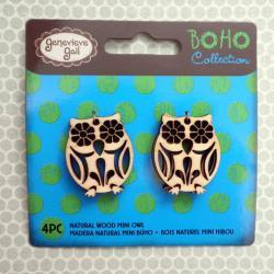 4x Wooden Owl Charms / Pendants