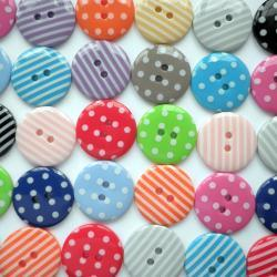 20x 23mm Spot & Stripe Button Mix