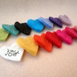 50x Multi Pack Mini Wool Felt Heart Shapes
