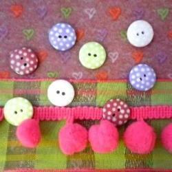 Love Heart Felt, Ribbon & Spotty Button Bundle